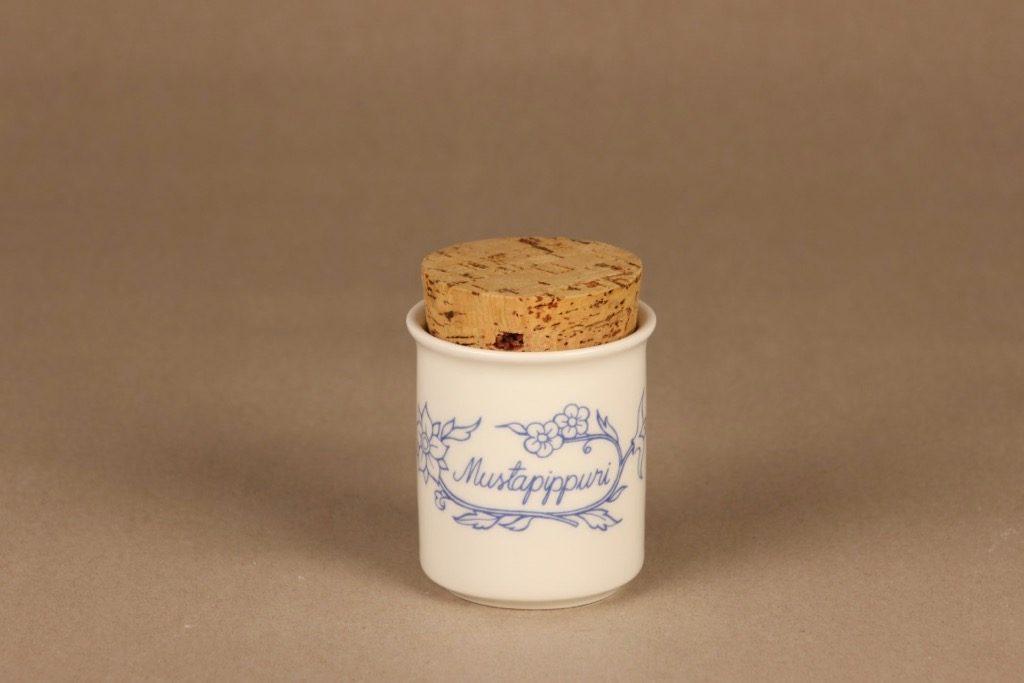 Arabia Sininen keittiö maustepurkki, mustapippuri, suunnittelija , mustapippuri, serikuva