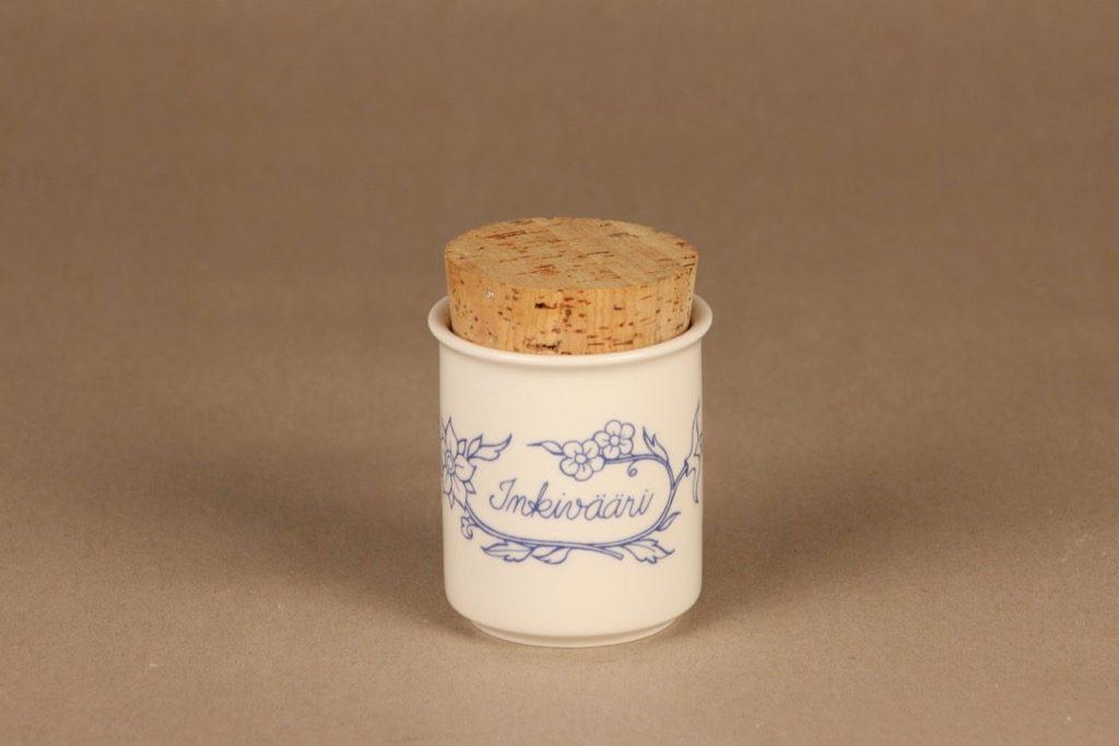 Arabia Sininen keittiö maustepurkki, inkivääri, suunnittelija , inkivääri, serikuva
