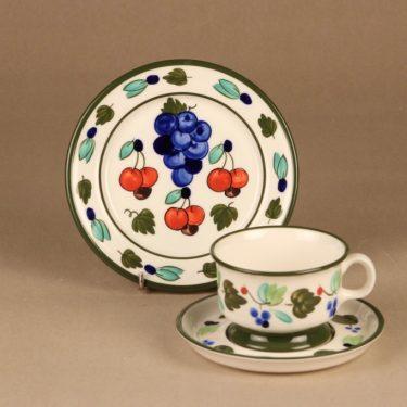 Arabia Palermo teekuppi ja lautaset, käsinmaalattu, suunnittelija Dorrit von Fieandt, käsinmaalattu, signeerattu