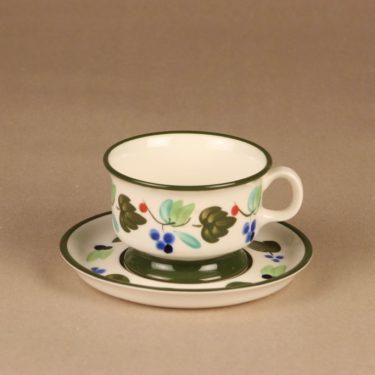 Arabia Palermo teekuppi ja lautaset, käsinmaalattu, suunnittelija Dorrit von Fieandt, käsinmaalattu, signeerattu kuva 2
