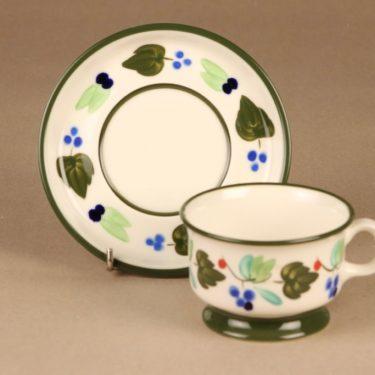 Arabia Palermo teekuppi ja lautaset, käsinmaalattu, suunnittelija Dorrit von Fieandt, käsinmaalattu, signeerattu kuva 3