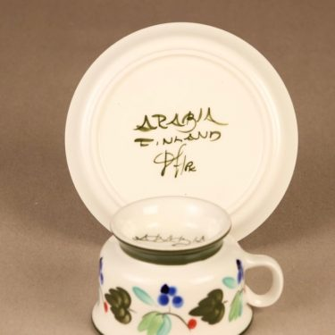 Arabia Palermo teekuppi ja lautaset, käsinmaalattu, suunnittelija Dorrit von Fieandt, käsinmaalattu, signeerattu kuva 4