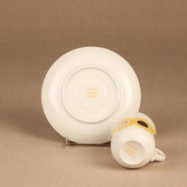 Arabia Tanja kahvikuppi ja lautaset, keltainen, suunnittelija Esteri Tomula, serikuva kuva 4