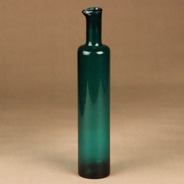 Riihimäen lasi 1735 art glass bottle green designer Nanny Still