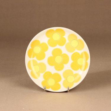 Arabia Aurinko lautanen, keltainen, suunnittelija Esteri Tomula, serikuva, kukka