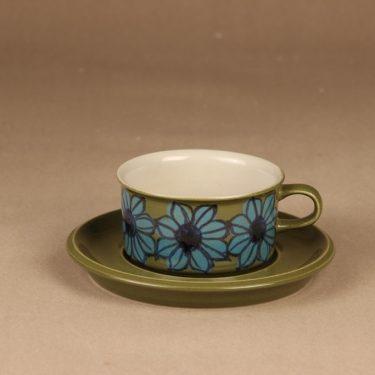 Arabia S teekuppi, käsinmaalattu, suunnittelija Hilkka-Liisa Ahola, käsinmaalattu, signeerattu, kukka
