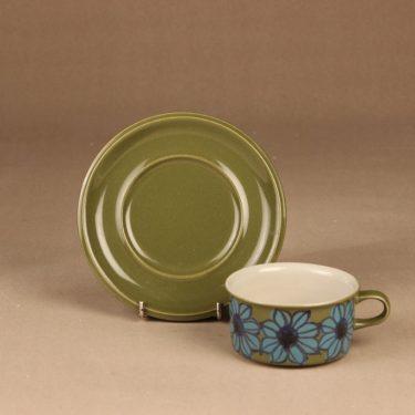 Arabia S teekuppi, käsinmaalattu, suunnittelija Hilkka-Liisa Ahola, käsinmaalattu, signeerattu, kukka kuva 2