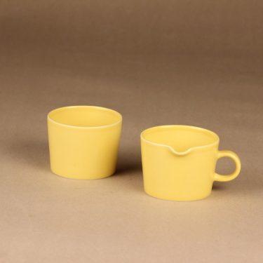 Arabia Kilta sokerikko ja kermakko, keltainen, suunnittelija Kaj Franck,