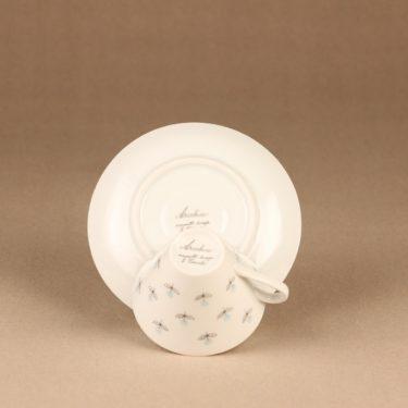 Arabia Monica kahvikuppi ja lautaset, käsinmaalattu, suunnittelija Esteri Tomula, käsinmaalattu, signeerattu, kukka kuva 4