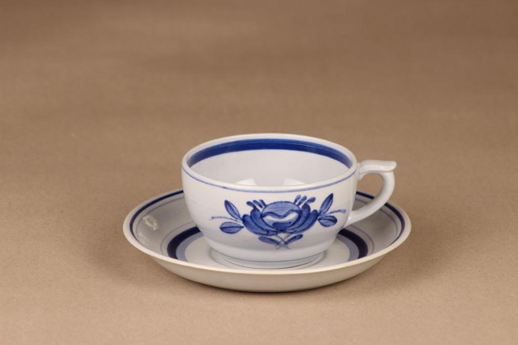 Arabia Blue Rose tea cup, hand-painted designer Svea Granlund