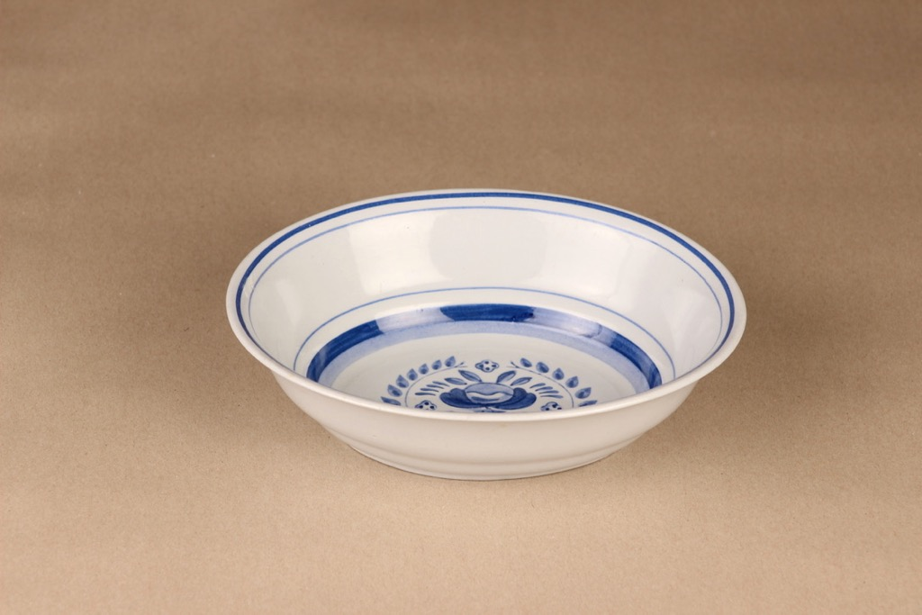 Arabia Blue Rose bowl, hand-painted designer Svea Granlund
