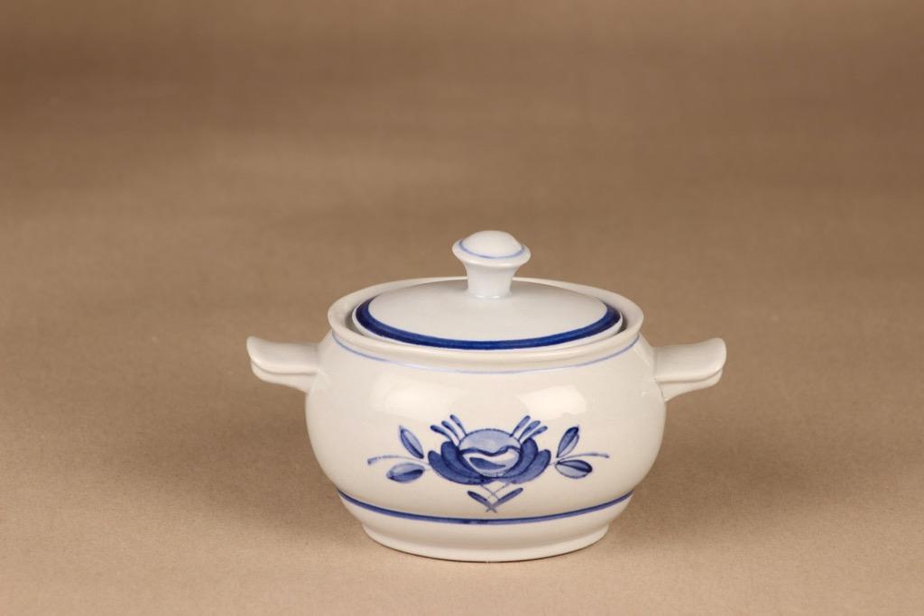 Arabia Blue Rose sugar bowl, hand-painted designer Svea Granlund
