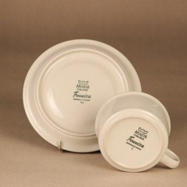 Arabia Fennica teekuppi, vaalea, ruskea raita, suunnittelija Richard Lindh, raidallinen kuva 3