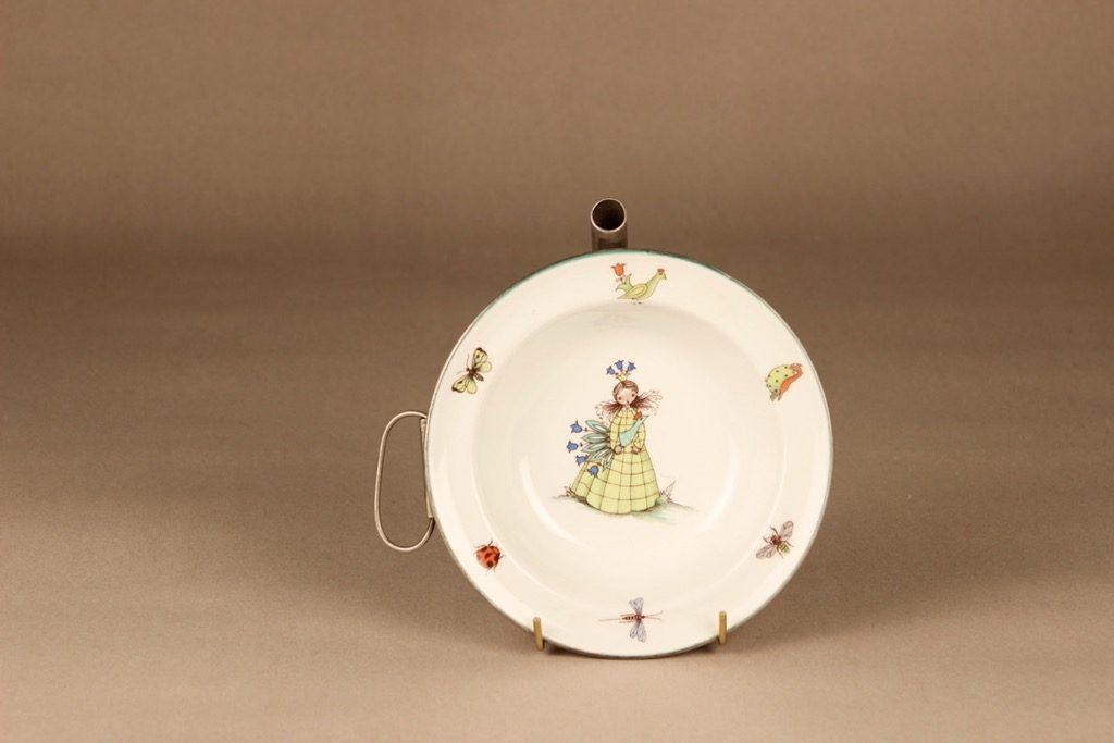 Arabia Satuprinsessa lasten lautanen, metallisella vesisäiliöllä, suunnittelija Esteri Tomula, metallisella vesisäiliöllä, satu, prinsessa
