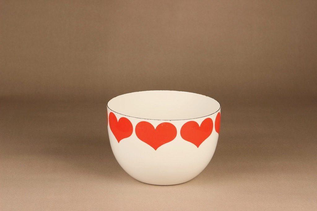 Finel Sydän bowl, white, red, designer Kaj Franck