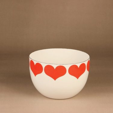 Finel Sydän bowl, white, red, designer Kaj Franck