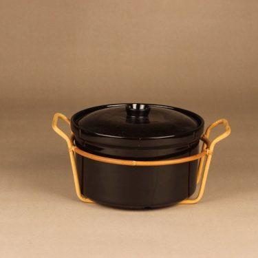 Arabia Kilta bowl, rattan rack, designer Kaj Franck