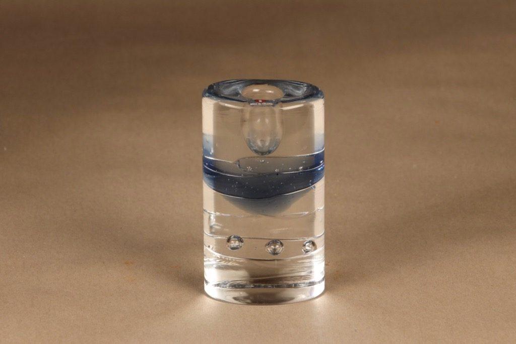 Iittala Arktia kynttilänjalka, kirkas, sininen, suunnittelija Timo Sarpaneva, massiivinen