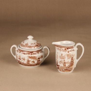 Arabia Singapore sugar bowl and creamer