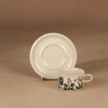 Arabia Flora kahvikuppi ja lautaset, monivärinen, suunnittelija Esteri Tomula, serikuva, kukka kuva 3
