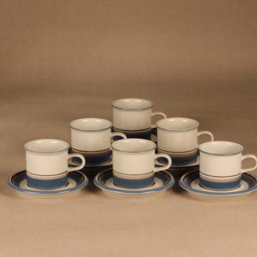 Arabia Uhtua kahvikuppi, 6 kpl, 6 kpl, suunnittelija Inkeri Leivo, 6 kpl, raitakoriste