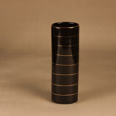 Arabia vase, black, gold, stripe decoration, functionalism
