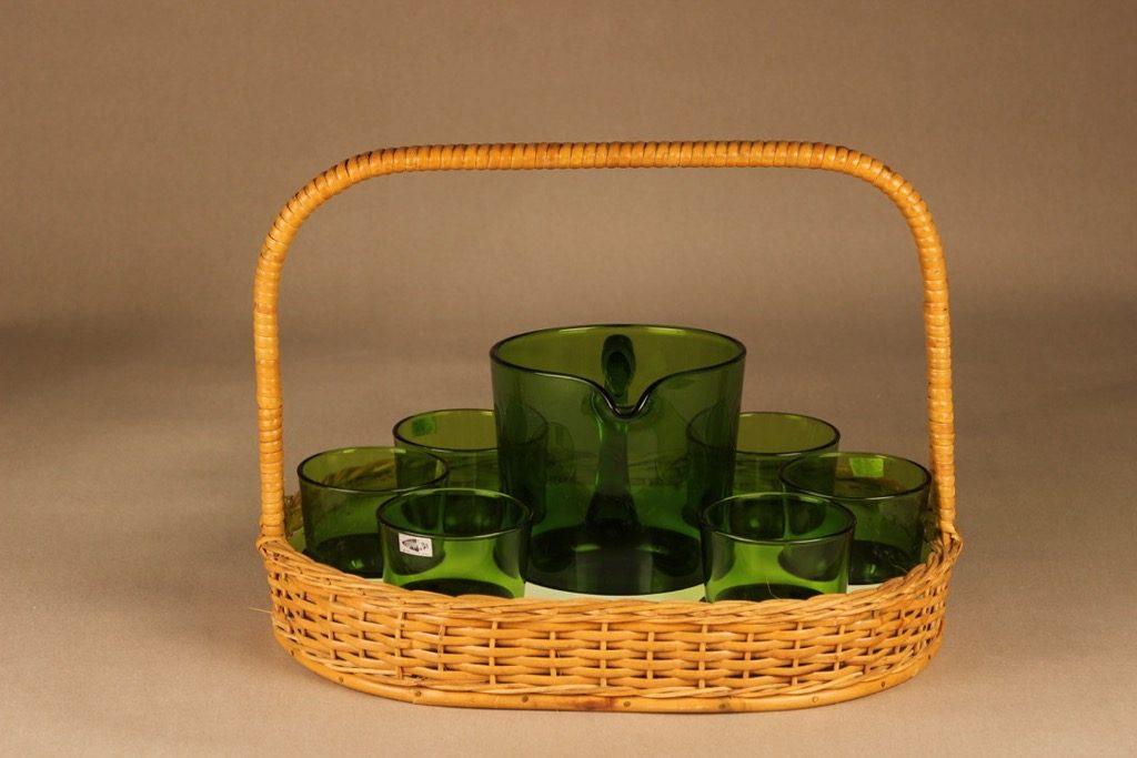 Nuutajärvi 5601/5023 pitcher 1 l ja glasses 18 cl with rattan basket designer Kaj Franck