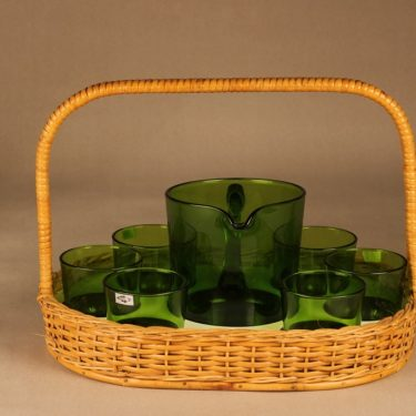 Nuutajärvi 5601/5023 pitcher 1 l ja glasses 18 cl with rattan basket designer Kaj Franck