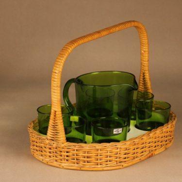 Nuutajärvi 5601/5023 pitcher 1 l ja glasses 18 cl with rattan basket designer Kaj Franck 2
