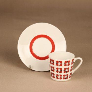 Arabia Eveliina kahvikuppi, punainen, suunnittelija Esteri Tomula, kukka, serikuva kuva 2