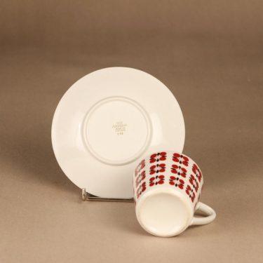 Arabia Eveliina kahvikuppi, punainen, suunnittelija Esteri Tomula, kukka, serikuva kuva 3