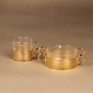 Iittala 24 carat sugar bowl and creamer designer Timo Sarpaneva
