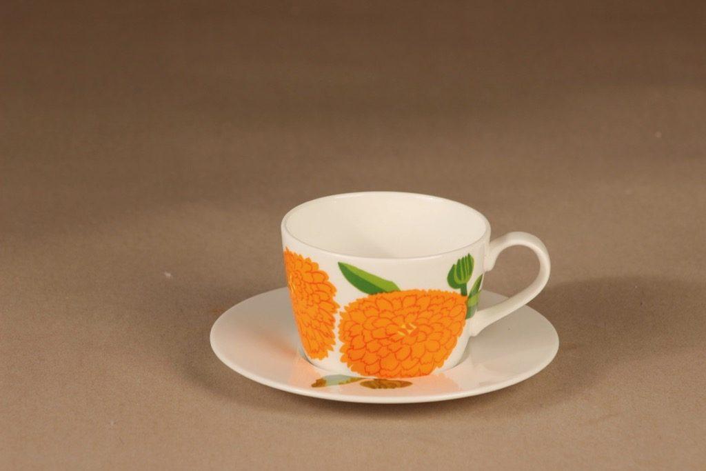 Iittala Primavera kahvikuppi, oranssi, suunnittelija Maija Isola, Marimekko, kukka