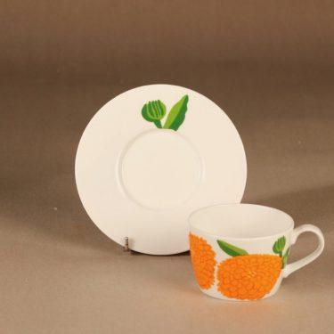 Iittala Primavera kahvikuppi, oranssi, suunnittelija Maija Isola, Marimekko, kukka kuva 2