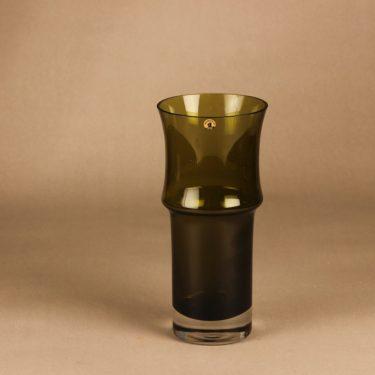 Riihimäen lasi maljakko, oliivinvihreä, suunnittelija Tamara Aladin,