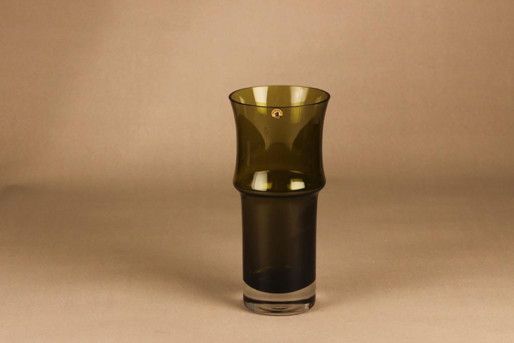 Riihimäen lasi vase olive green designer Tamara Aladin