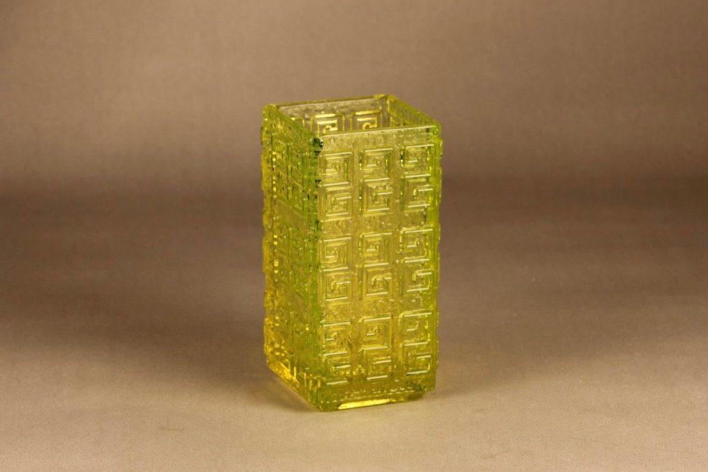 Riihimäen lasi Taalari maljakko, keltainen, suunnittelija Tamara Aladin, massiivinen