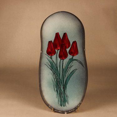 Arabia seinälaatta, Punaiset Tulppaanit, suunnittelija Heljä Liukko-Sundström, Punaiset Tulppaanit, serikuva, kukka, tulppaani