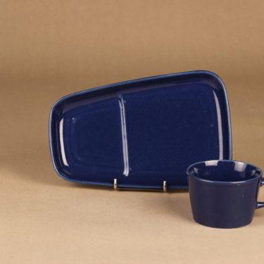 Arabia Kilta kahvikuppi ja erikoislautanen, sininen, suunnittelija Kaj Franck,  kuva 3
