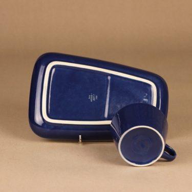 Arabia Kilta kahvikuppi ja erikoislautanen, sininen, suunnittelija Kaj Franck,  kuva 4