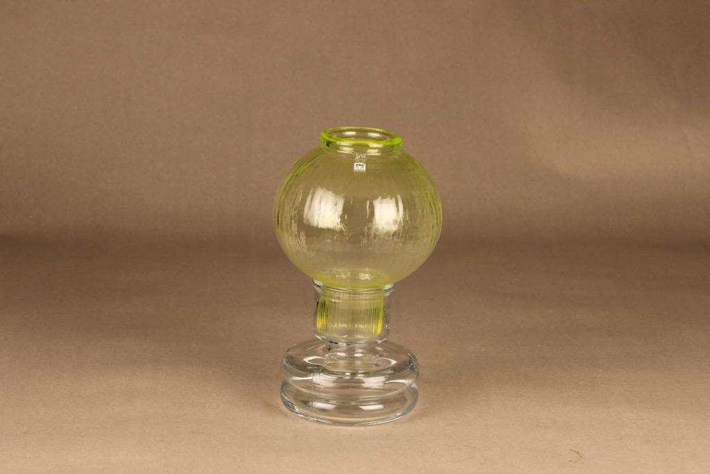 Riihimäen lasi Tuikku kynttilälyhty, keltainen, suunnittelija Nanny Still,