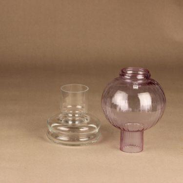 Riihimäen lasi Tuikku candle lantern, lilac designer Nanny Still