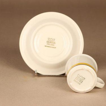Arabia Faenza Raita kahvikuppi ja lautaset, keltainen, suunnittelija Inkeri Seppälä, raita kuva 4