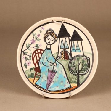 Kupittaan savi seinätaulu, käsinmaalattu, suunnittelija Laila Zink, käsinmaalattu, signeerattu