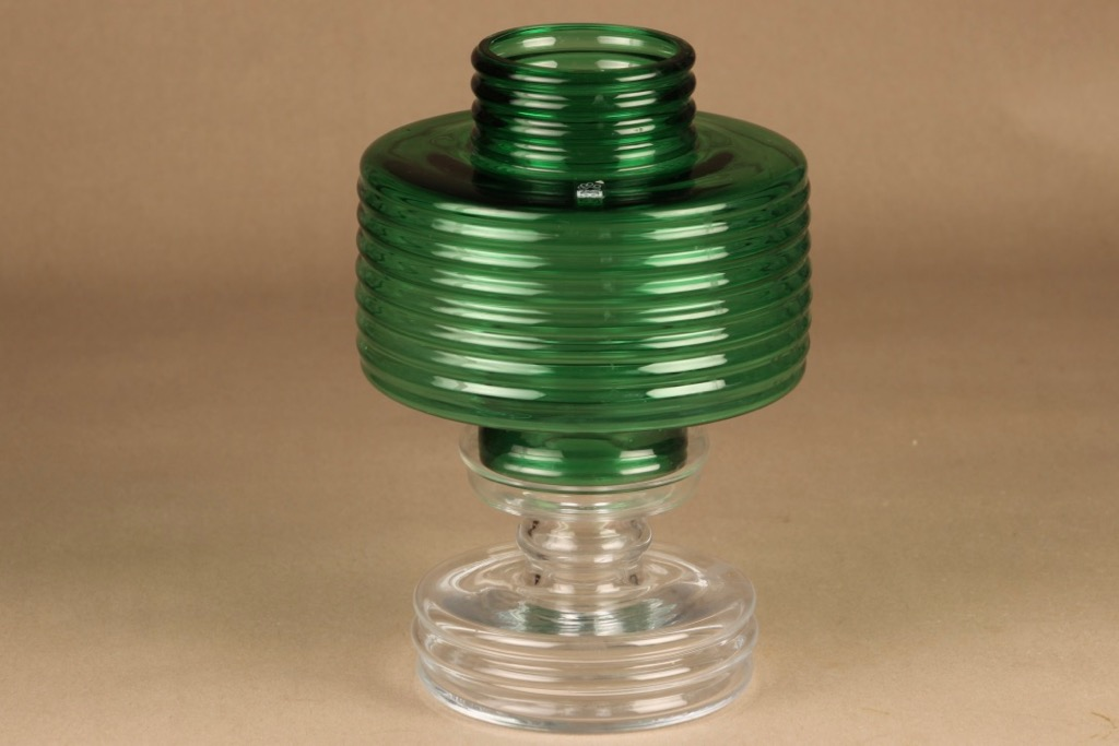 Riihimäen lasi Apollo kynttilälyhty, vihreä, suunnittelija Nanny Still, Kaksi-osainen