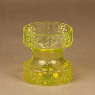 Riihimäen lasi Mesimarja kääntömaljakko, keltainen, suunnittelija Tamara Aladin,
