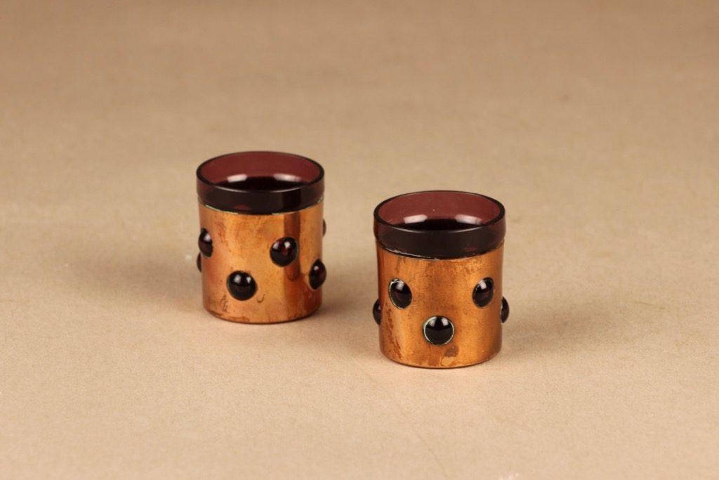 Kumela snapsilasi, metallivanteessa, 2 kpl, suunnittelija Jan Salakari, metallivanteessa