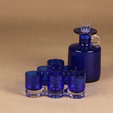 Kumela karahvi ja 6 lasia, sininen, 7 kpl, suunnittelija Sirkku Kumela-lehtonen,