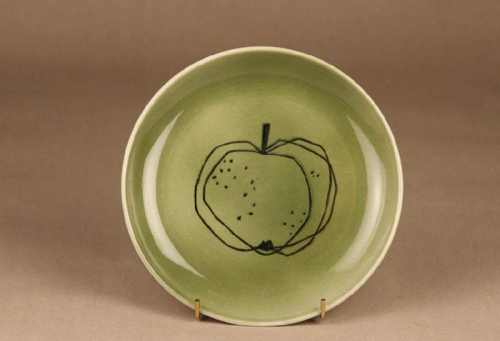 Arabia Graffito koristelautanen, omena, suunnittelija Gunvor Olin, omena, käsinmaalattu