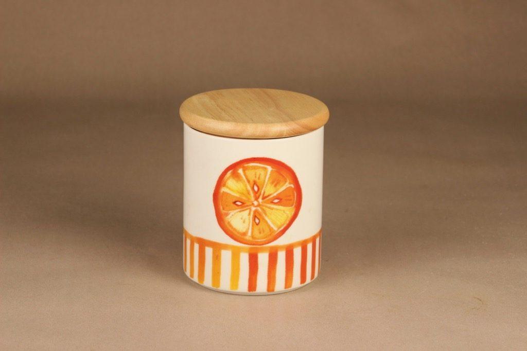 Arabia Appelsiini purkki, kannellinen, suunnittelija Minna Immonen, kannellinen, sesonkituote